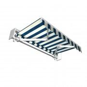JAROLIFT Gelenkarmmarkise Basic 295 x 250cm + Schutzdach, Stoff blau/weiss Blockstreifen #20