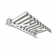 JAROLIFT Gelenkarmmarkise Basic 395 x 300cm + Schutzdach, Stoff hellgrau/weiss Blockstreifen
