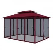PARAMONDO Comfort Gartenpavillon Seitenwand Moskitonetz, bordeaux - Laschen anthrazit | 6er Pack