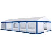 PARAMONDO Partyzelt Flex 6 x 10 m | weiß-blau | aufbaubar in den Größen: 6 x 4 m, 6 x 6 m, 6 x 8 m, 6 x 10 m