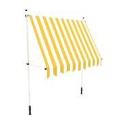 PARAMONDO Klemmmarkise - Balkonmarkise JAM | 1,95 x 1,50 m | Gestell: weiß | Stoff: Block, gelb-weiß