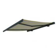 PARAMONDO Kassettenmarkise Curve | 5 x 3,5 m | Gestell: anthrazit | Stoff: Block, gelb-grau