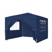 PARAMONDO Steckpavillon | 3 x 3 m inkl. 1x Wand & 1x Türwand & 2x Fensterwand, blau