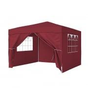 PARAMONDO Steckpavillon | 3 x 3 m inkl. 1x Wand & 1x Türwand & 2x Fensterwand, bordeaux