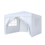 PARAMONDO Steckpavillon | 3 x 3 m inkl. 1x Wand & 1x Türwand & 2x Fensterwand, weiß