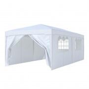 PARAMONDO Steckpavillon | 3 x 6 m inkl. 2x Wand & 1x Türwand & 3x Fensterwand, weiß