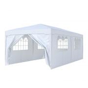 PARAMONDO Steckpavillon | 3 x 6 m inkl. 1x Türwand & 5x Fensterwand, weiß
