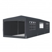 PARAMONDO Steckpavillon | 3 x 9 m inkl. 3x Wand & 4x Fensterwand & 1x Moskitonetz, anthrazit