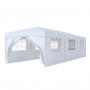 PARAMONDO Steckpavillon | 3 x 9 m inkl. 1x Türwand & 7x Fensterwand, weiß