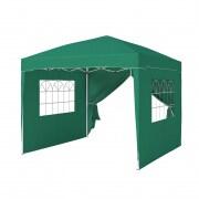 PARAMONDO Faltpavillon Premium | 3 x 3 m inkl. 1x Seitenwand-Tür & 2x Seitenwand-Fenster, grün