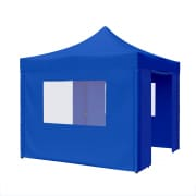 PARAMONDO Faltpavillon Premium Plus | 3 x 3 m inkl. 2x Seitenwand-Tür & 2x Seitenwand-Fenster, blau