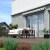 JAROLIFT Gelenkarmmarkise Basic 300 x 250cm, Stoff hellgrau/weiss Blockstreifen