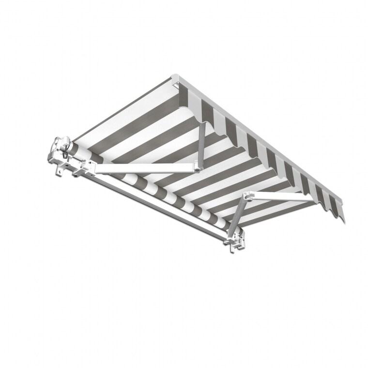 paramondo Gelenkarmmarkise Basic | 400 x 300 cm, hellgrau-weiß Blockstreifen