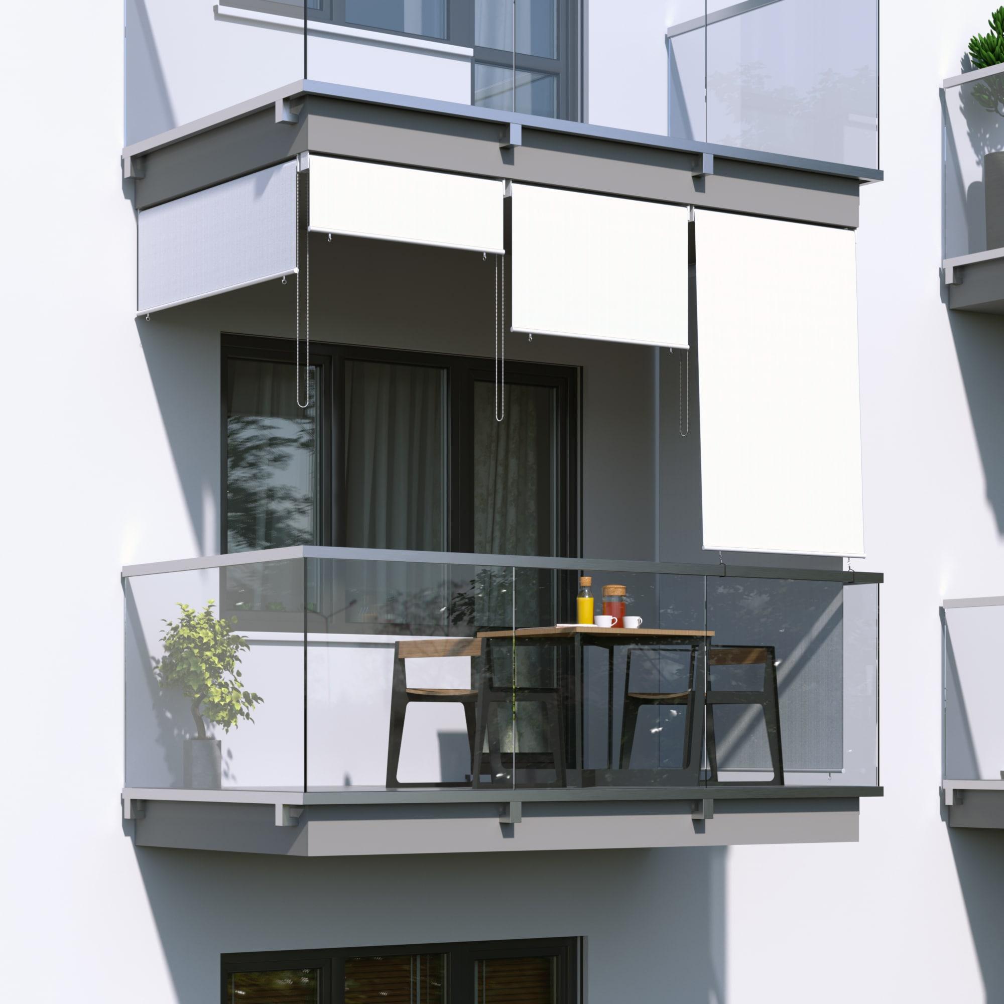 au enrollo balkon senkrechtmarkise 180 x 140cm wei jarolift. Black Bedroom Furniture Sets. Home Design Ideas