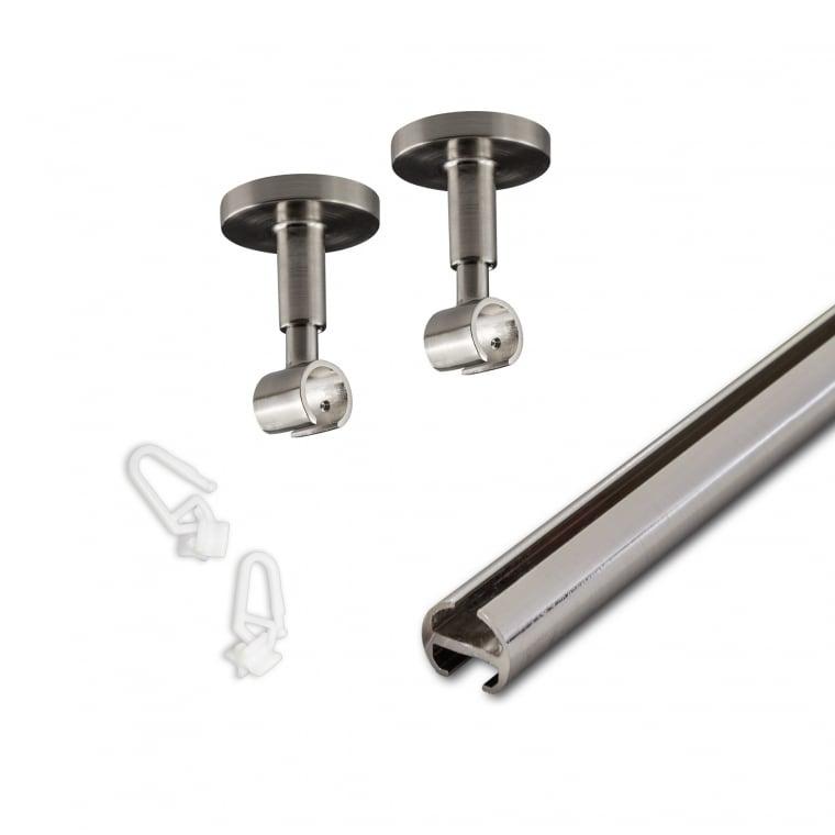 VICTORIA M Vorhangstange & -schiene 1-läufig 240cm (2x 120cm) inkl. Deckenhalter + Gleiter, silber