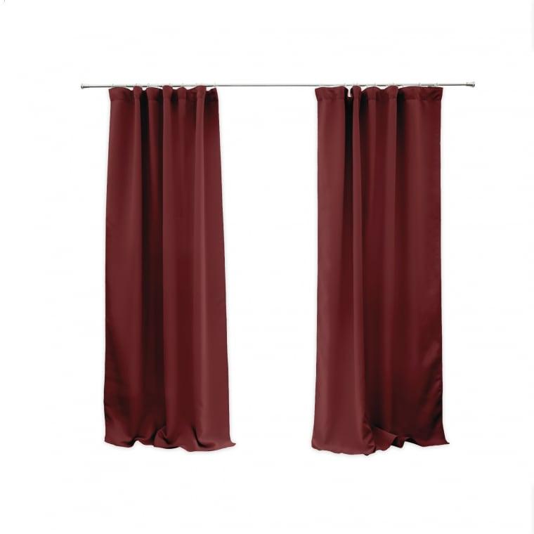 VICTORIA M Aurora Vorhang mit Kräuselband | verdunkelnd 140 x 245cm, bordeaux