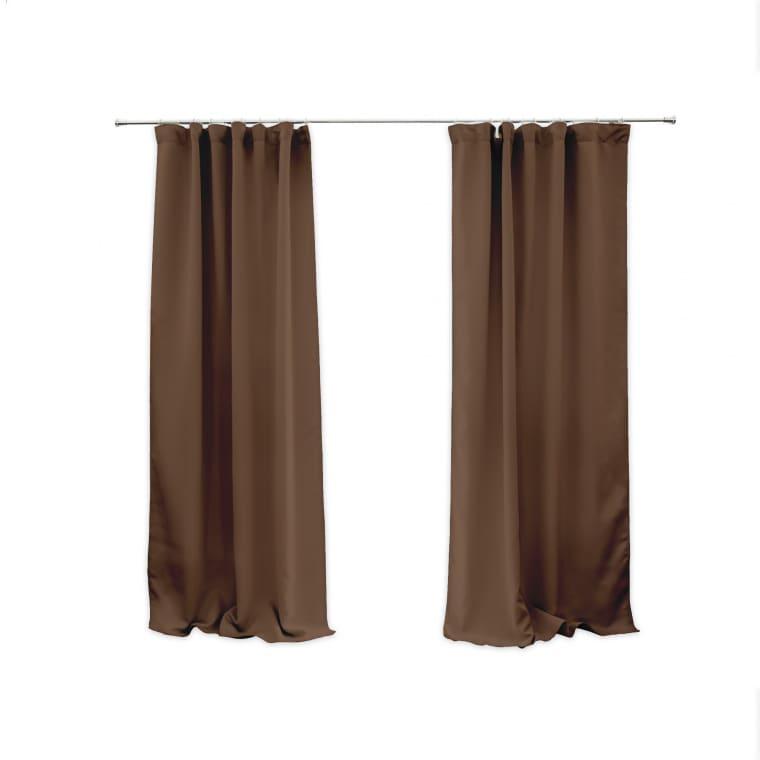 VICTORIA M Aurora Vorhang mit Kräuselband   verdunkelnd 140 x 245cm, braun