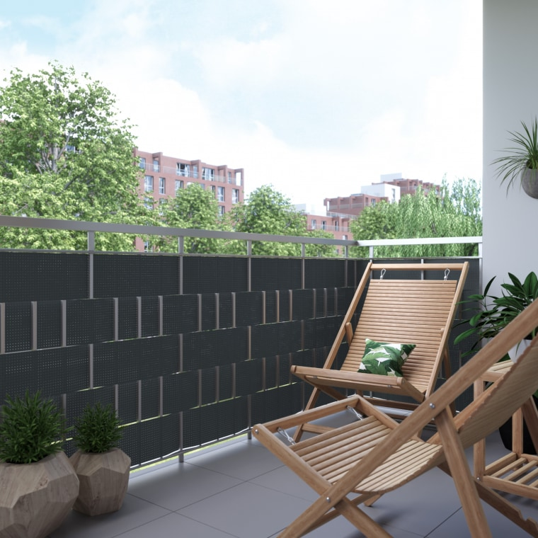 JAROLIFT PVC-Rattan Sichtschutzstreifen 2,6m inkl. 5x Befestigungsclips, anthrazit | 2 Stück