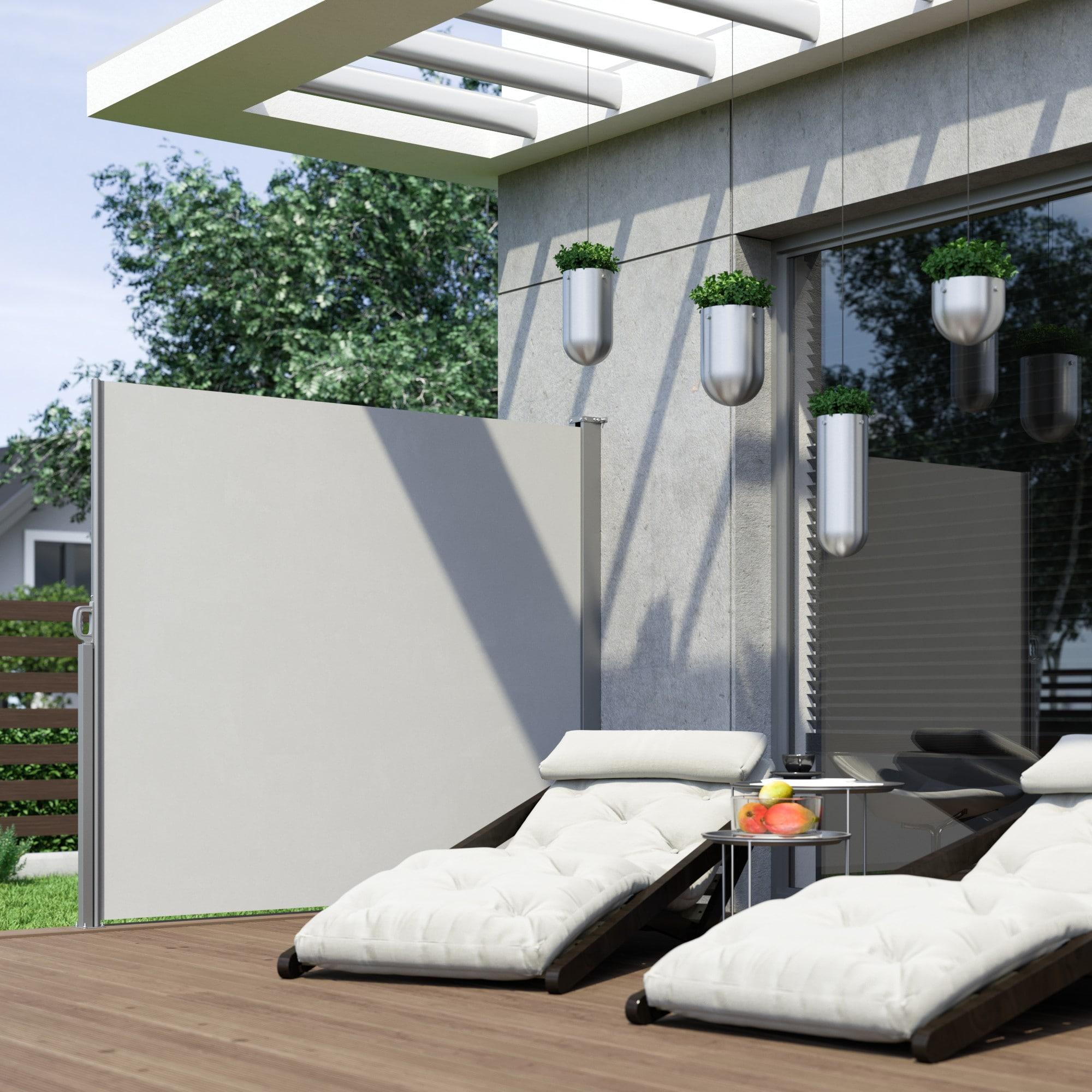 seitenwandmarkise als sicht wind sonnenschutz. Black Bedroom Furniture Sets. Home Design Ideas