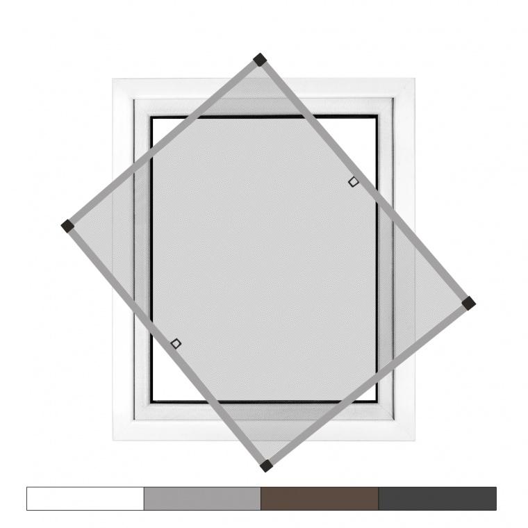 insektenschutz fliegengitter spannrahmen f r fenster 130 x 150 cm wei silber oder braun. Black Bedroom Furniture Sets. Home Design Ideas