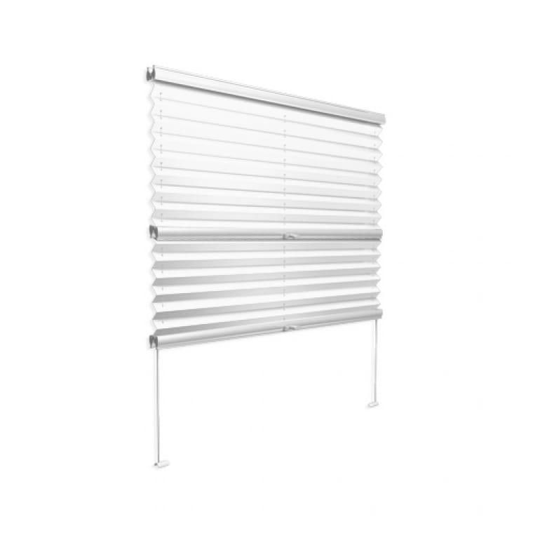 VICTORIA M Plissee mit Seitenführung VS3, 200 x 200 mm, weiß-weiß