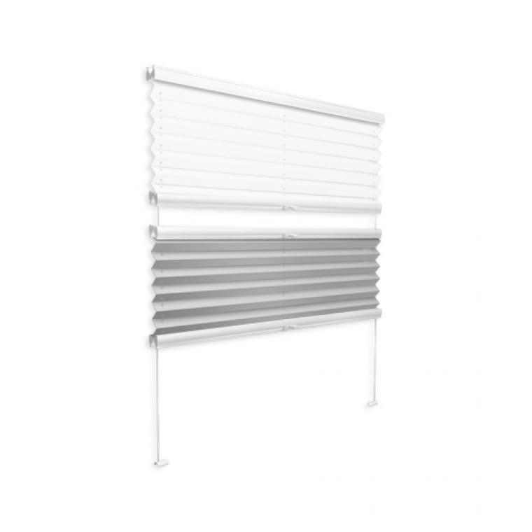 VICTORIA M Plissee mit Seitenführung VSSD, 200 x 200 mm, weiß-grau
