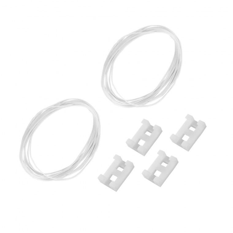 VICTORIA M Seil-Set für Indiva Plissees | 2 x Stoff-Führungs-Seil à 250 cm | 4 Seilbremsen