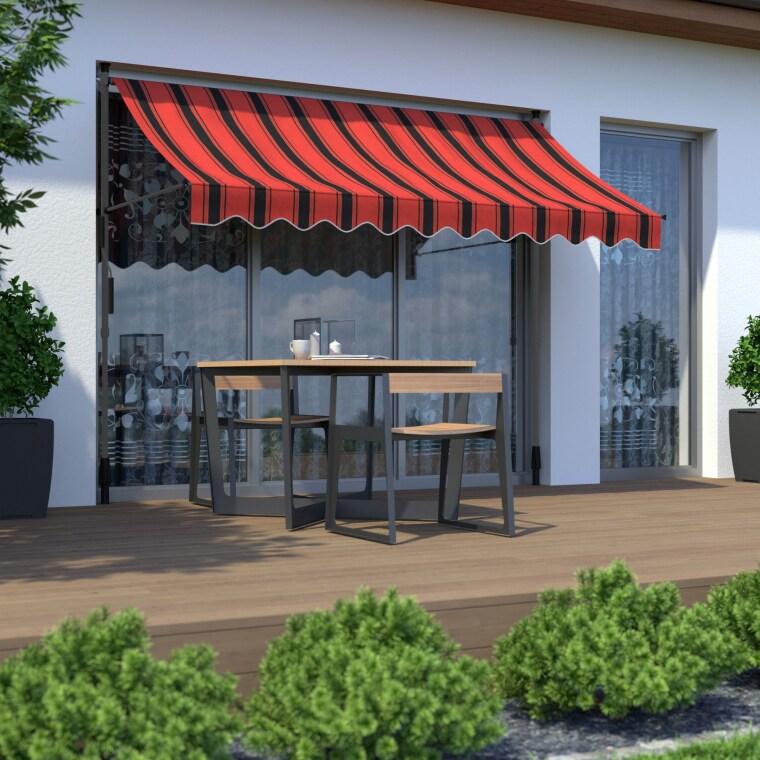 PARAMONDO Klemmmarkise - Balkonmarkise JAM | 1,95 x 1,50 m | Gestell: anthrazit | Stoff: Multi, orange