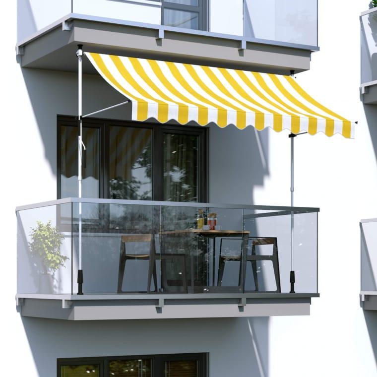 paramondo Klemmmarkise - Balkonmarkise JAM | 1,95 x 1,20 m | Gestell: weiß | Stoff: Block, gelb-weiß