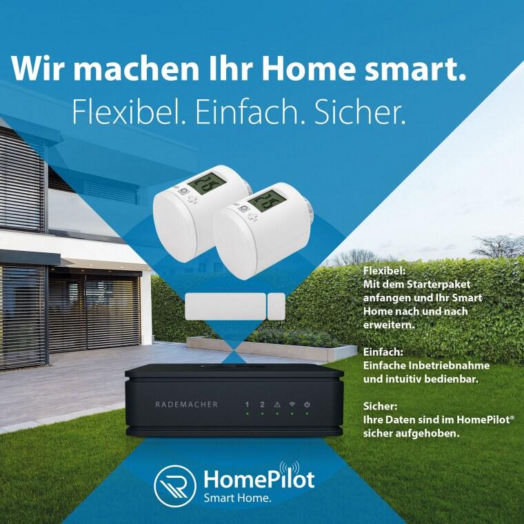 RADEMACHER HomePilot Starterset Heizen   HomePilot + DuoFern Tür-Fensterkontakt + 2x DuoFern Thermostat