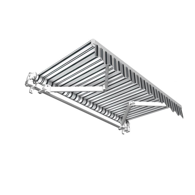 JAROLIFT Gelenkarmmarkise Basic 250 x 150cm, Stoff grau/weiss Multistreifen #09