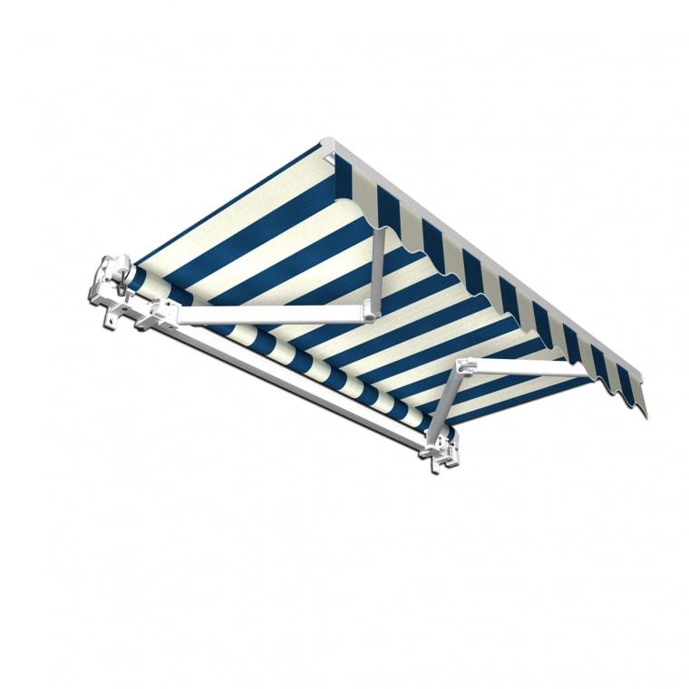 JAROLIFT Gelenkarmmarkise Basic 300 x 250cm, Stoff blau/weiss Blockstreifen #20