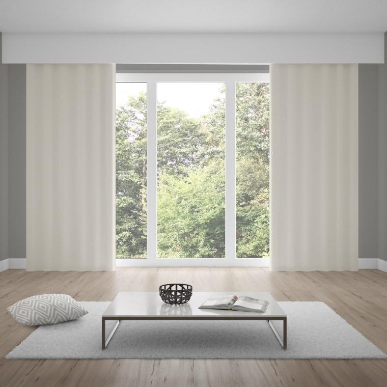 WILLKOMMEN ZUHAUSE Premium Ösenvorhang | verdunkelnd, Baumwoll-Optik, 135 x 245 cm, wollweiß