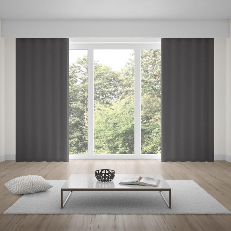 WILLKOMMEN ZUHAUSE Premium Ösenvorhang | verdunkelnd, Baumwoll-Optik, 135 x 245 cm, anthrazit