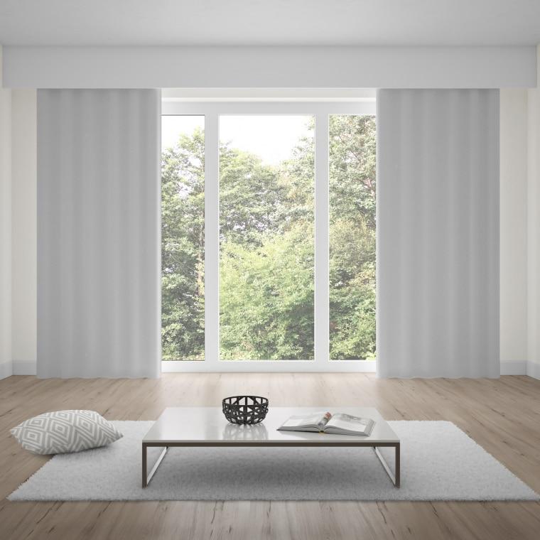 WILLKOMMEN ZUHAUSE Premium Ösenvorhang | verdunkelnd, Baumwoll-Optik, 135 x 245 cm, silber