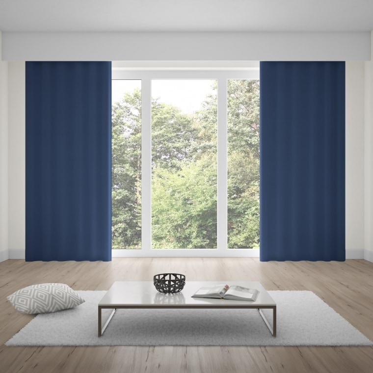 moments Ösenvorhang | verdunkelnd, glatter Stoff, 140 x 245 cm, blau