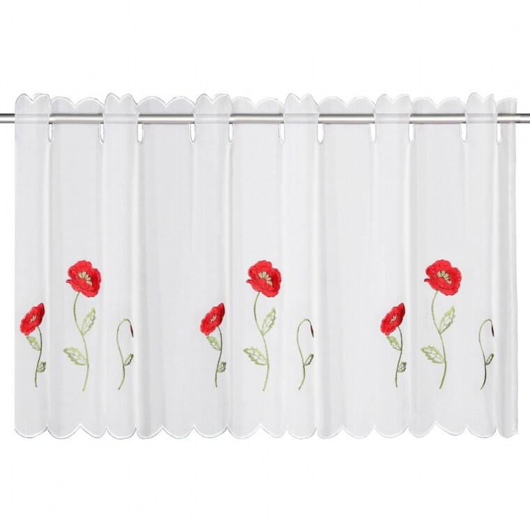 Curtain Flair Scheibengardine | transparent, Mohnblumen, 45 x 115 cm, weiß