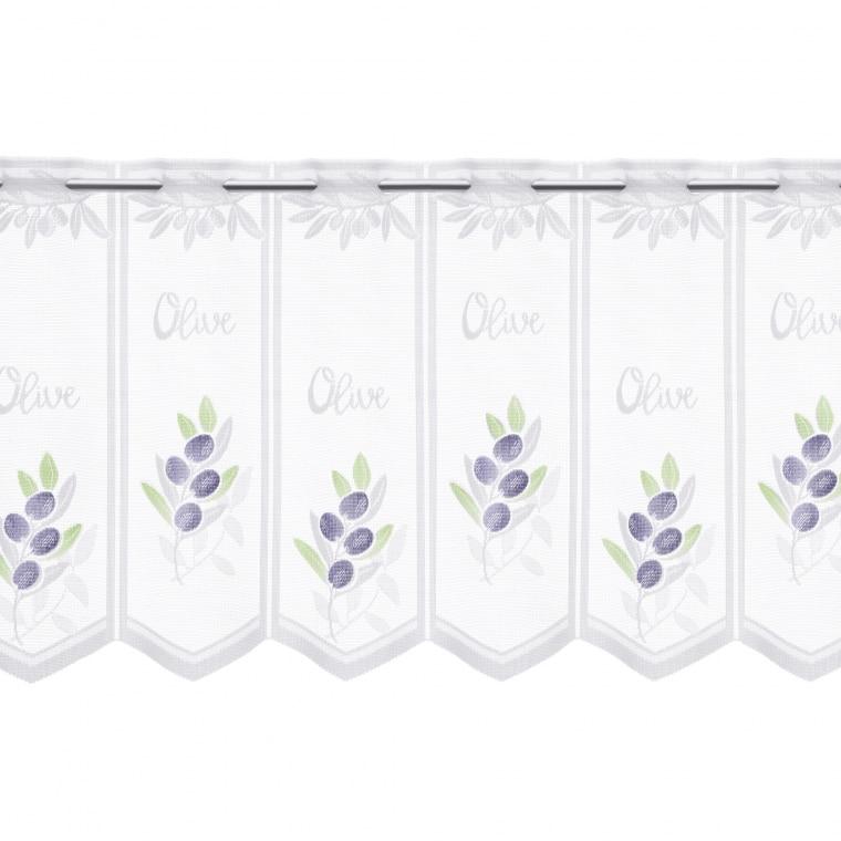 Curtain Flair Scheibengardine | transparent, Oliven, 45 x 145 cm, weiß