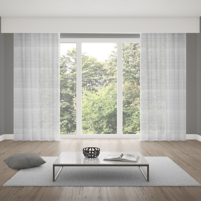 WILLKOMMEN ZUHAUSE Gardinenschal | transparent, Leinen-Optik, 135 x 245 cm, wollweiß
