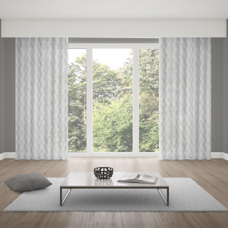 WILLKOMMEN ZUHAUSE Ösenvorhang | transparent, Rauten-Muster, 135 x 245 cm, weiß-silber