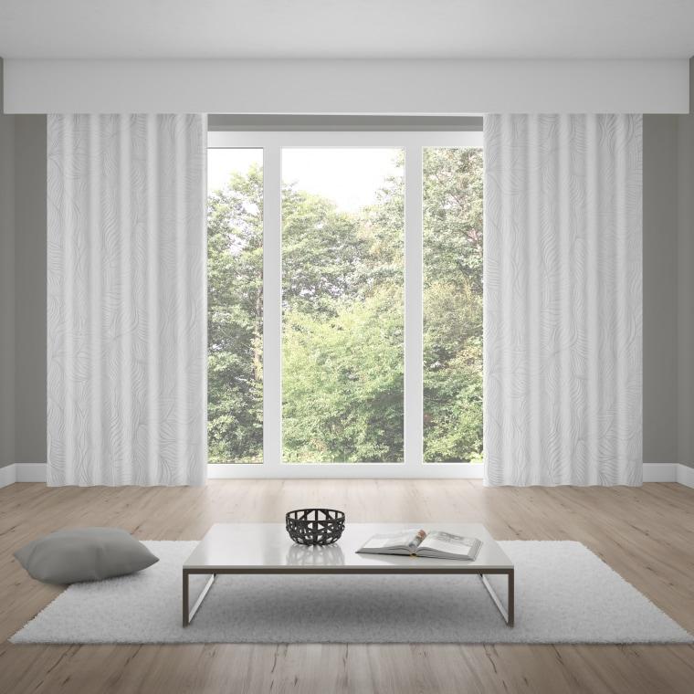 WILLKOMMEN ZUHAUSE Gardinenschal   transparent, Blatt-Muster, 140 x 245 cm, weiß-silber