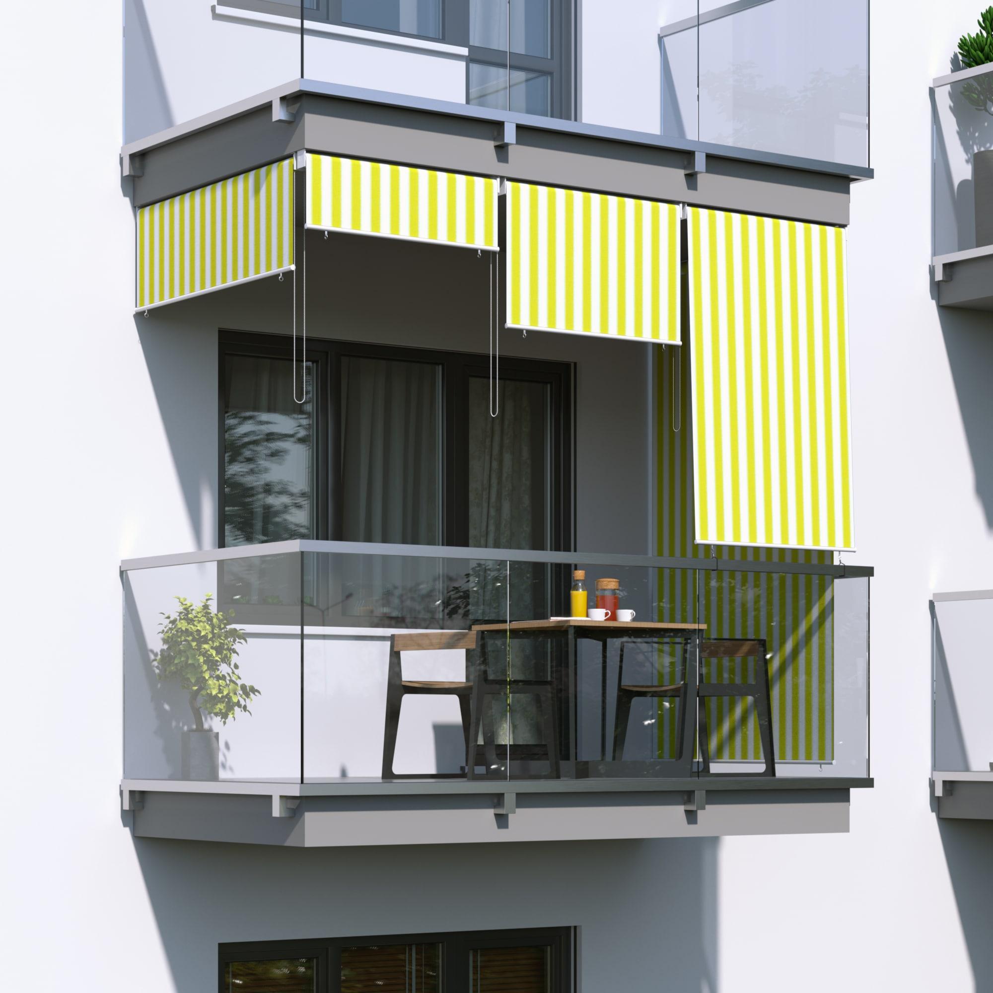 au enrollo balkon senkrechtmarkise 100 x 140cm gelb wei jarolift. Black Bedroom Furniture Sets. Home Design Ideas