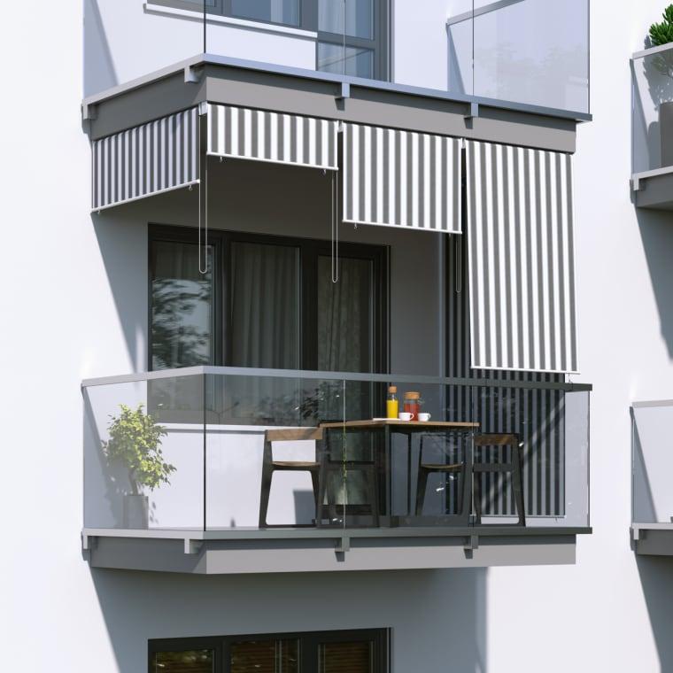 JAROLIFT Außenrollo / Senkrechtmarkise 100 x 240cm, grau / weiß
