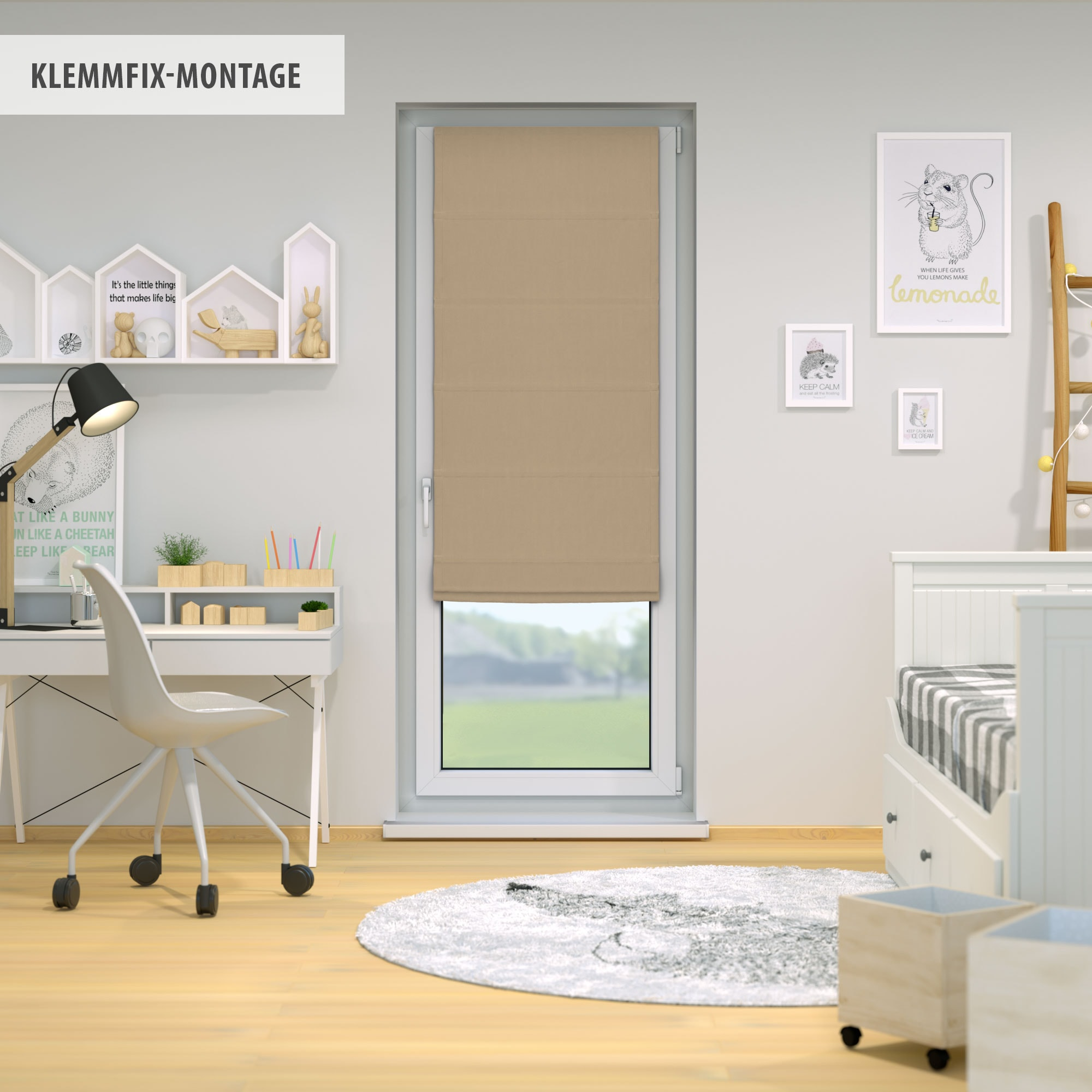 klemmfix raffrollo 140 x 240cm beige victoria m. Black Bedroom Furniture Sets. Home Design Ideas