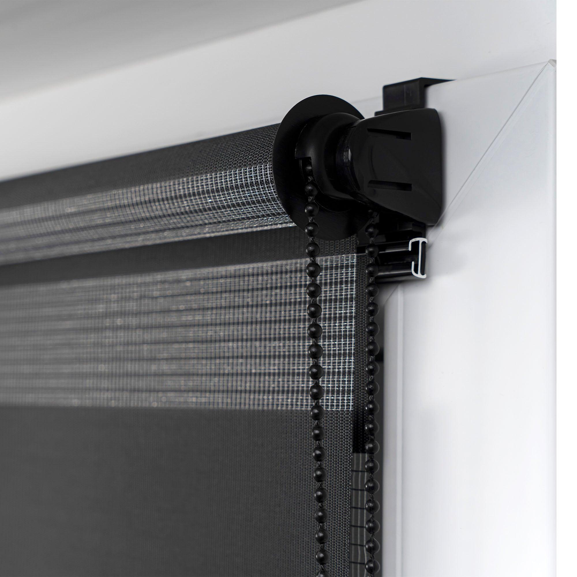 klemmfix doppelrollo duo rollo 90 x 150cm schwarz. Black Bedroom Furniture Sets. Home Design Ideas