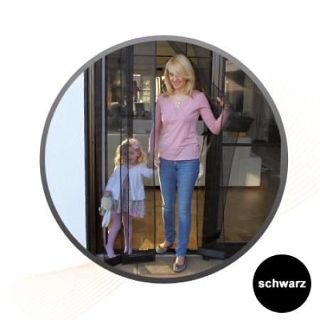 fliegengitter t rvorhang 100 x 220cm schwarz jarolift. Black Bedroom Furniture Sets. Home Design Ideas