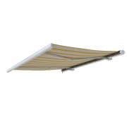 PARAMONDO Kassettenmarkise Curve | 3,5 x 3 m | Gestell: weiß | Stoff: Multi, beige-gelb