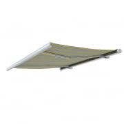 PARAMONDO Kassettenmarkise Curve | 3,5 x 3 m | Gestell: weiß | Stoff: Block, gelb-grau